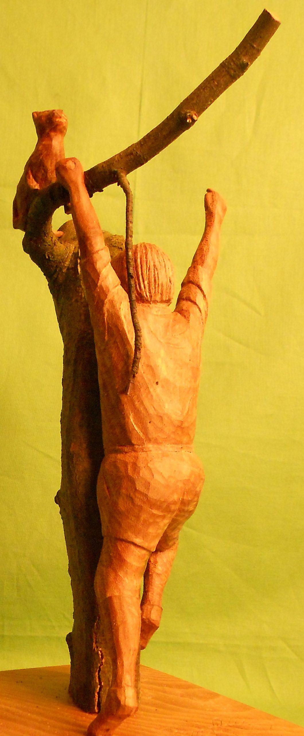 John Adamson - Wood Sculptor: boy-cat-and-beech-tree02