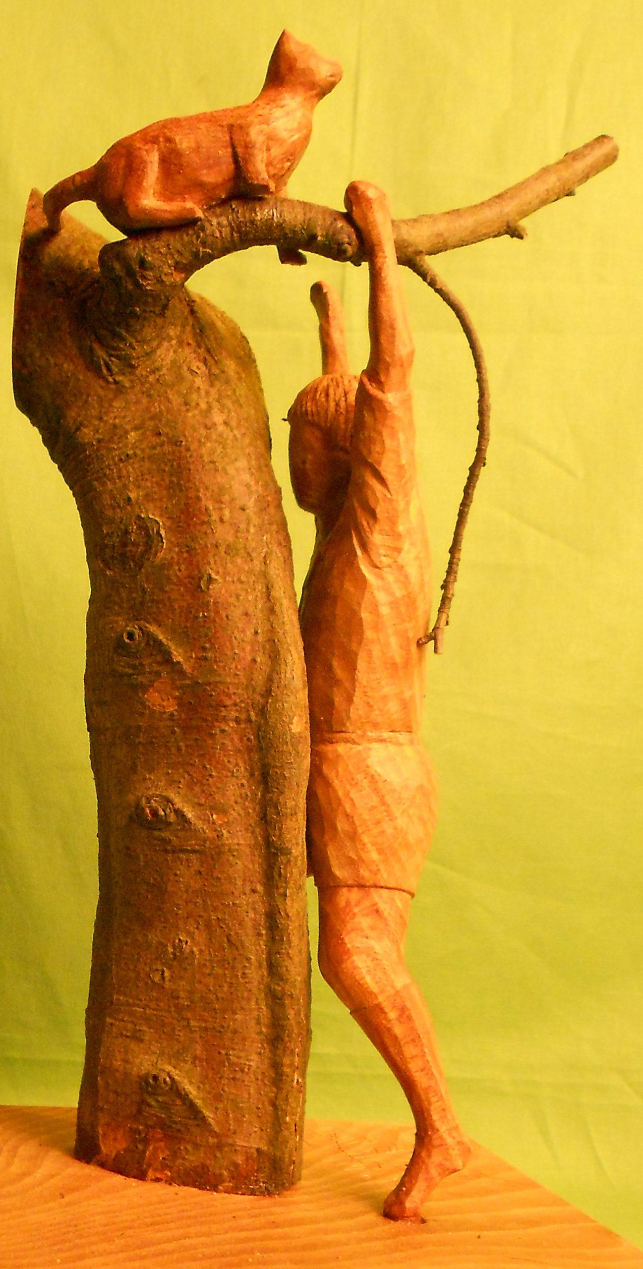 John Adamson - Wood Sculptor: boy-cat-and-beech-tree03